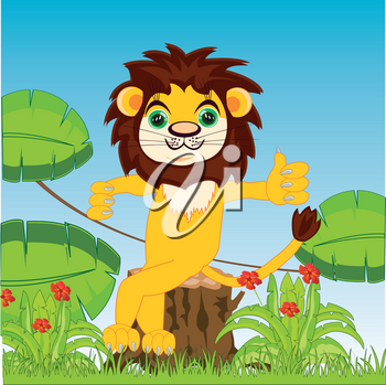 Vector illustration of the cartoon reigning beasts lion in jungle