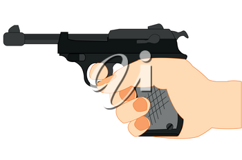 Gun walther in hand on white background is insulated