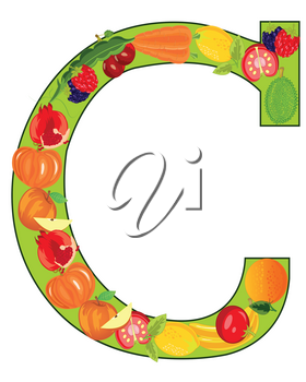 Vector illustration of the decorative letter G from fruit and vegetables