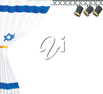 Royalty Free Clipart Image of a Theatre Stage with Overhead Lamps and a Curtain with Colours of Israel