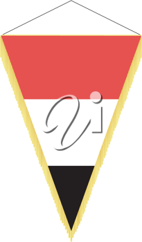 Royalty Free Clipart Image of a Pennant with the National Flag of Yemen