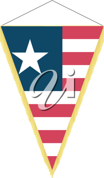 Royalty Free Clipart Image of a Pennant with the National Flag of Liberia