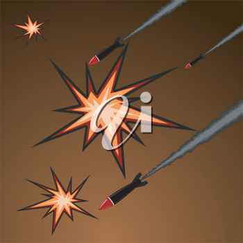 Royalty Free Clipart Image of Shooting Rockets