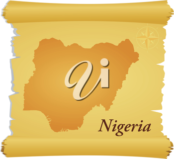 Royalty Free Clipart Image of a Parchment With a Silhouette of Nigeria