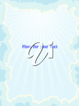 Royalty Free Clipart Image of Blue Skies With Clouds on a Card