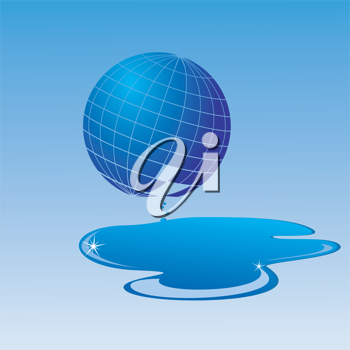 Royalty Free Clipart Image of a World Globe Leaking Water