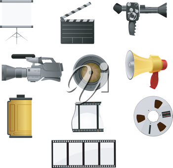 Royalty Free Clipart Image of a Variety of Film Stage Items