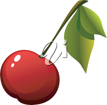 Royalty Free Clipart Image of a Fresh Cherry With a Stem and Leaves