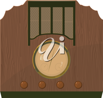 Royalty Free Clipart Image of an Old Radio in a Wooden Case