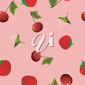 Royalty Free Clipart Image of a Background of Assorted Fruit