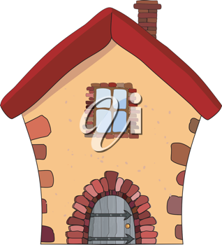 Royalty Free Clipart Image of a Cartoon Stone House