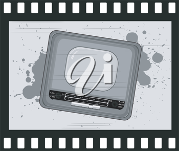 Royalty Free Clipart Image of a Retro Radio Picture on a Negative Film Strip
