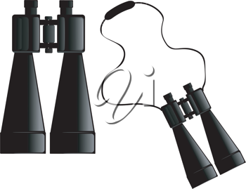 Vector image of binoculars with strap