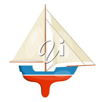 A miniature model of sailboat isolated on white background. Vector illustration.