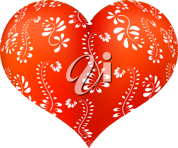 Red three-dimensional heart with floral ornament with white. Vector illustration.