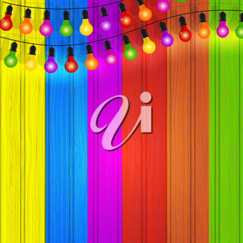 Colorful garlands of  lights on the color wooden background. Vector illustration.