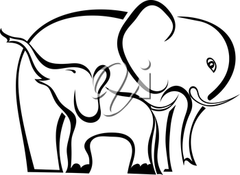 A pair of elephants mother and baby isolated on white background. Symbol of care, love, motherhood. Logo. Vector illustration.