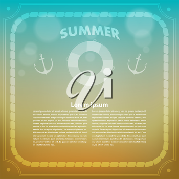 Summer background with anchor. Summer. Retro. Vector illustration.