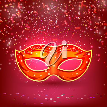 Red banner with theatrical carnival mask. Design your theater cultural events, masquerade, carnival. Vector illustration.