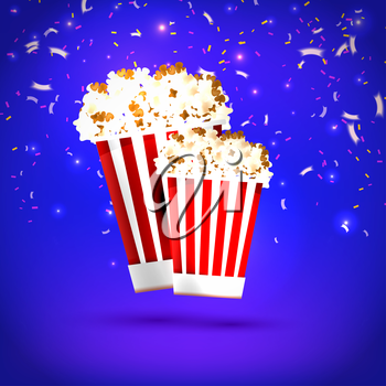 Banner large and small  popcorn on blue background. Food, popcorn. Design your the cinema, film, and entertainment events. Vector illustration.illustration.