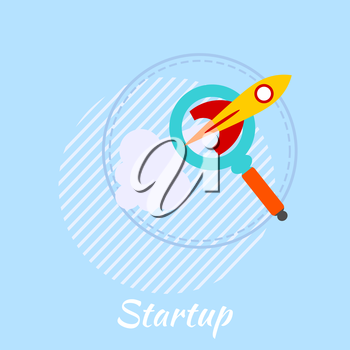 Blue banner with rocket. The design of the start of your business project. Business, startup. Flat style. Vector illustration.