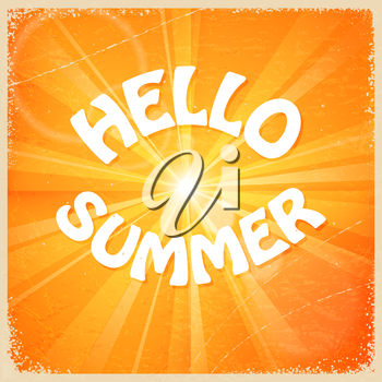 Vintage card with sunlight and yellow background. Hello summer. Vector illustration