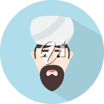 Color flat Muslim icon. A man with a beard - Mufti traditional headdress turban. Vector illustration.