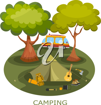 Camping among the trees in a forest glade. Tourist relaxing outdoors. Summer camping. Icon of outdoor recreation. Illustration of a summer camp in the forest. Equipment near the tent. Stock vector