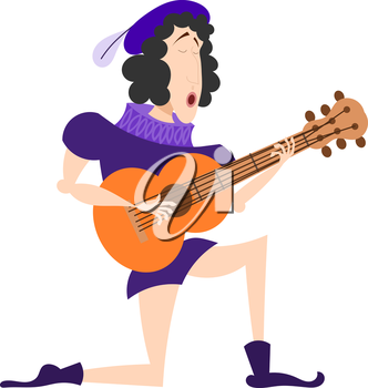 Singer in an old suit with a guitar. Artist serenaded with a guitar in his hands. Cartoon illustration of a serenade. Stock vector
