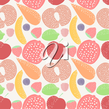 Seamless pattern with fruit. Colorful seamless pattern with fruits and vegetables: pomegranate, banana, apple, cherry, strawberry, carrot, figs. Stock vector
