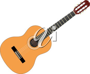 Musical instrument - acoustic guitar with strings on a white background. Isolated object. 