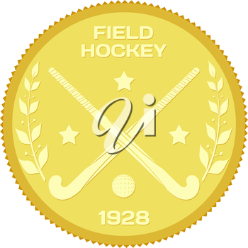 Gold medallion with sticks and ball for field hockey. Colored vector illustration of field hockey. Stock vector illustration