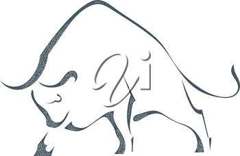 Sketch silhouette a angry bull on a white background, in grunge style. Stock vector illustration.