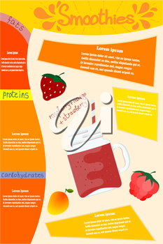 Red smoothies. Glass glass with a vitamin cocktail smoothie of strawberry, raspberry, mango with elements of infographics and text. Vector illustration of a natural and healthy food.