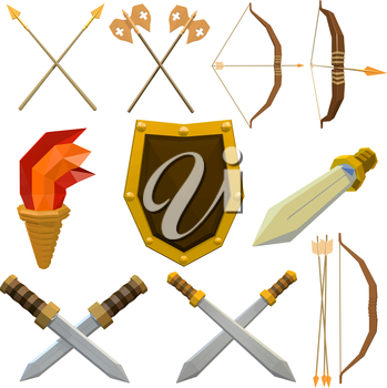 Colorful vector set of medieval weapons isolated on white background. Low poly armed knights. Onions, shield, spear, ax, torch, arrow, dagger. Stock vector illustration