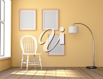Mock up interior. Room with natural light. White chair and a high floor lamp. 3d rendering.