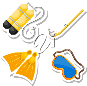 Set items diver cut from paper. Vector accessories dayviga in Cartoon style on a white  background. Stock vector
