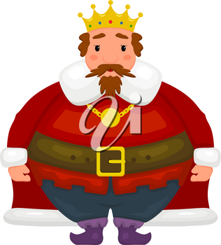 Cartoon image of a king on a white background. Cheerful kind king in a red robe, golden crown and with a gold medallion. Abstract vector illustration