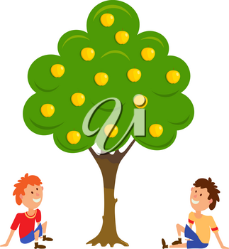 Two boys near the apple tree. Cartoon vector illustration of an apple tree and two seated boys. Flat style. Vector drawing