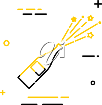 Flat linear icon of a bottle with a flying stopper. Linear style. Sign of joy and victory. 