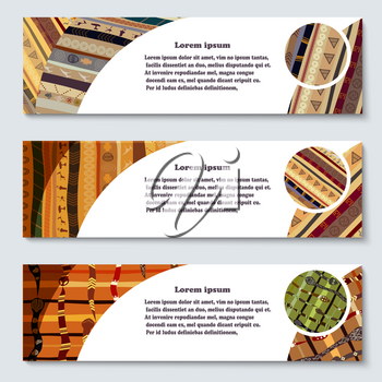 Set of abstract African tribal style banners. Vector illustration