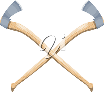 Color image of two crossed axes on a white background. The symbol is the tool of the woodcutter. Vector illustration tools of wood in the style of Cartoon