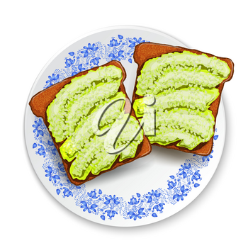 Beautifully plated avocado toast.  Sandwich with avocado paste and spices  and black sesame . Vector illustration healthy food.