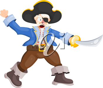 Angry pirate on a white background. Vector illustration of a terrible pirate attacking with a saber. Medieval sea villain in a cocked hat, costume, boots, without an eye, attacks. Stock vector