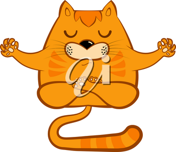 Red cartoon cat in a yoga pose on a white background. Yellow cat asana vector illustration Animal meditation
