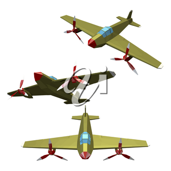 Combat aircraft with a propeller on a white background. Set of polygonal aircraft, monoplane, military equipment. Vector illustration