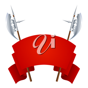 Two medieval halberds with a red banner for information on a white background. Vector illustration of ancient edged weapons with flag