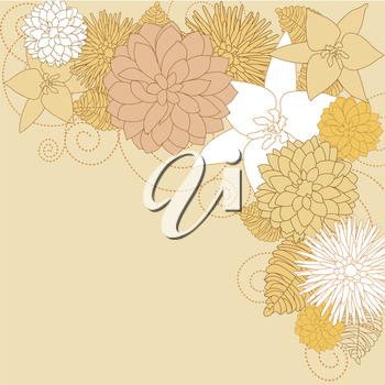 Abstract brown flourish background with flowers for design. Vector illustration