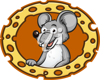 Cartoon mouse with cheese frame. Vector illustration