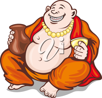 Asian smiling monk in cartoon style. Vector illustration